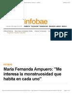 """María Fernanda Ampuero- """"Me interesa la monstruosidad que habita en cada uno"""" - Infobae"""