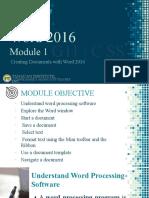 WORD 2016 MODULE 1