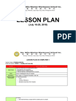 LESSON PLAN- 4thWEEK - JuLY 16-20, 2018