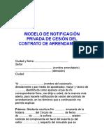 notificación cesion a arrendatario