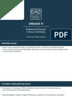 Slides de Aula – Unidade IV Análise de Discurso Crítica e Semiótica