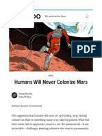 Humans Will Never Colonize Mars
