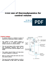 First Law of Thermodynamics for a Control Volume