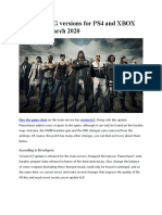 Update PUBG Versions for PS4 and XBOX From 26th March 2020