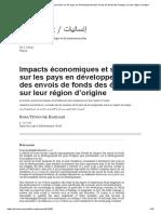 Impacts économiques et sociaux sur les pays en développement des envois de fonds des émigrés sur leur région d'origine
