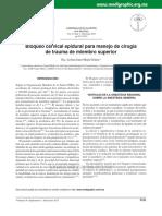 Bloqueo cervical epidural para manejo de cirugía de trauma de miembro superior