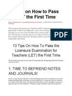 13 Tips on How to Pass the LET the First Time