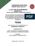 """PROYECTO DE TESIS """"ESTUDIO INTEGRAL DEL PROCESO DE DEGRADACIÓN, PLAN DE MANEJO Y CONSERVACIÓN DE LOS SUELOS DE USO AGRÍCOLA PARA LA PRODUCCIÓN SOSTENIBLE EN LA COMUNIDAD CAMPESINA SAN FELIPE, DISTRITO DE SAN FELIPE, PROVINCIA DE JAÉN, REGIÓN DE CAJAMARCA"""""""