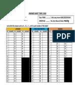 ANSWER SHEET TOEFL 2020