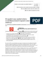 El Español como Unidad Relativa - Texto para Estudiar para el primer Parcial
