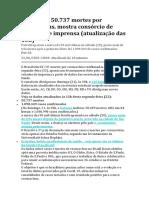 Brasil tem 50.737 mortes por coronavírus, mostra consórcio de veículos de imprensa (atualização das 13h)