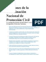 Funciones de la Coordinación Nacional de Protección Civil