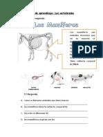 Guía de aprendizaje Animales vertebrados
