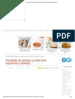 Ensalada de quinoa y atún (con aguacate y mango)