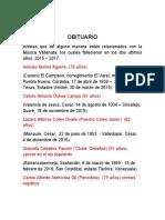 OBITUARIO ARTISTAS VALLENATOS 2015-2016