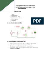 MEDIDA DEL FACTOR DE POTENCIA EN CIRCUITOS ELÉCTRICOS MONOFÁSICOS