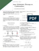 Informe Aislamiento; condensadores paralelo y serie