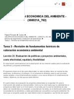 358021A_762_ Tarea 3 - Revisión de fundamentos teóricos de valoración económica ambiental_ Lección 22. Evaluación de políticas y proyectos ambientales, costo efectividad, equidad y flexibilidad