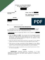 Application for probation sample