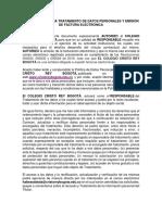 Autorización Para Tratamiento de Datos y Emisión de Factura Electrónica