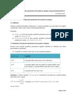 Equações quadráticas Paramétricas simples e Equações biquadráticas