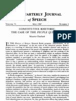 Maurice Charland--Constitutive Rhetoric