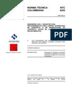 NTC 4222 Procedimientos para Limpiar Superficies de Concreto o de Mampostería de Concreto, Antes de la Aplicación de Revestimientos