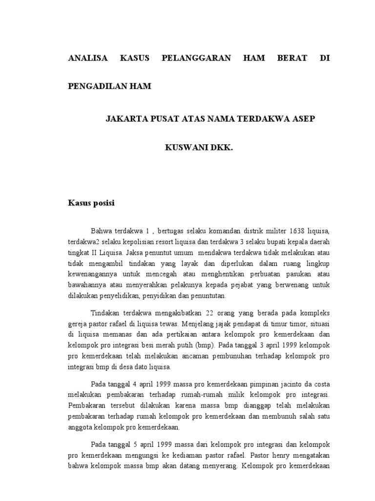 Analisa Kasus Pelanggaran Ham Berat Di Pengadilan Ham