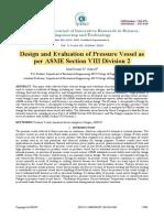 Evaluation Pressure Vessel  ASME Division 2-1