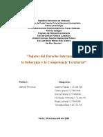 Trabajo sobre los Sujetos del Derecho Internacional Público, la Soberania y la Competencia Territorial