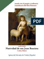 24 de Junio.- Natividad de San Juan Bautista. Propio y Ordinario de la santa misa