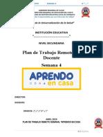 5° PLAN DE TRABAJO REMOTO PARA DOCENTES SEMANAL