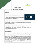 Roteiro de Estudos - Direito Constitucional i  ESTACIO