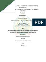 logistica internacional (ANALISIS DE COSTO DE DE SERVICIO LOGISTICO INTEGRAL. ANALISIS DE COSTO Y TIEMPO)