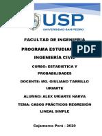 CASOS PRÁCTICOS REGRESIÓN LINEAL SIMPLE