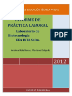 INFORME DE PRÁCTICA LABORAL- Laboratorio de Biotecnologí- EEA INTA Salta.