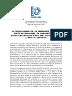 EL FORTALECIMIENTO DE LOS DESEMPEÑOS MOTORES A PARTIR DE COMPLEJISAR LOS COMPONENTES DE LA ESTRUCTURA DEPORTIVA E IMPULSAR LA VARIABILIDAD DE LA PRÁCTICA DEPORTIVA