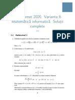 Rezolvar subiecte Bacalaureat 2020 - Matematică-informatică