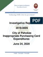 Pahokee City Credit Card Investigative Report