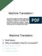 Machine Translation I