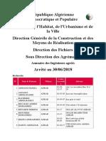 Etat nominatifs des Ingénieurs dûment agréés Arrêté au 30 06 2018