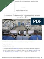 Coronavírus_ Últimas notícias e o que se sabe até esta quarta-feira (24) - 24_06_2020 - UOL Notícias