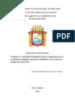 Relacion entre prejuicio linguistico y deslealtad linguisitica en pobladores bilingües  de la zona sur andina de peru