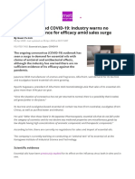 Essential oil and COVID10 warns no evidence of efficacy