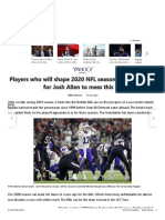 Players who will shape 2020 NFL season_ It will be hard for Josh Allen to mess this up