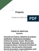 Abertura do Projecto