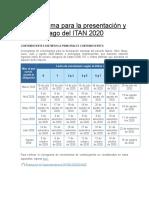 Cronograma Para La Presentación y Pago Del ITAN 2020