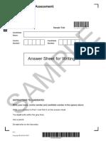 B1 Preliminary Writing sample answer sheet