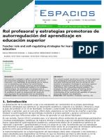 Rol profesoral y estrategias promotoras de autoregulación del aprendizaje en educación superior