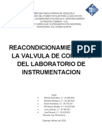 Reacondicionamiento de la valvula de control del laboratorio de instrumentacion